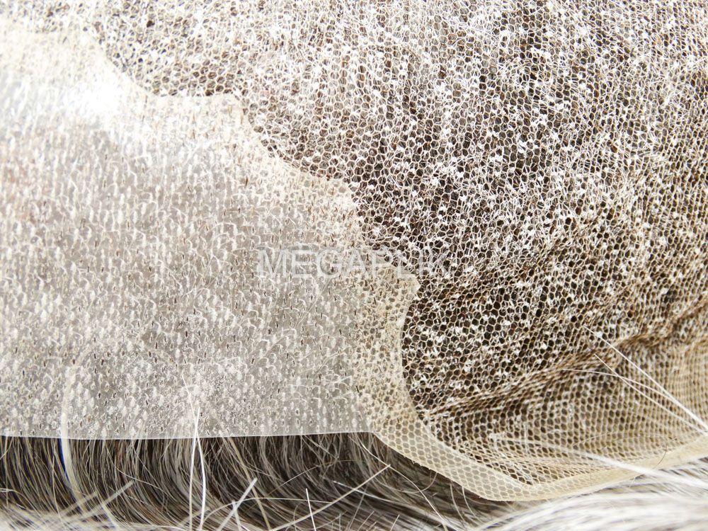 Prótese Capilar Mix Lace/Micropele Cabelo Humano Preto 65% Grisalho