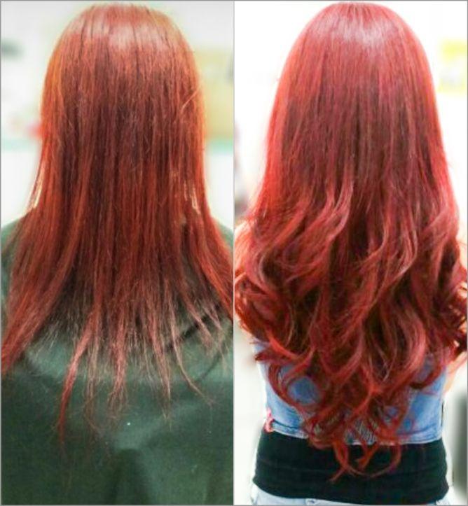 Mega Hair Fita Adesiva Classic Vermelho 55cm - 10 peças - Cor 98