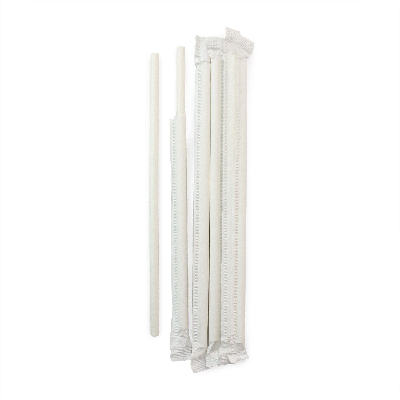 1000 Canudos de Papel Branco Ecológico Embalado 1x1