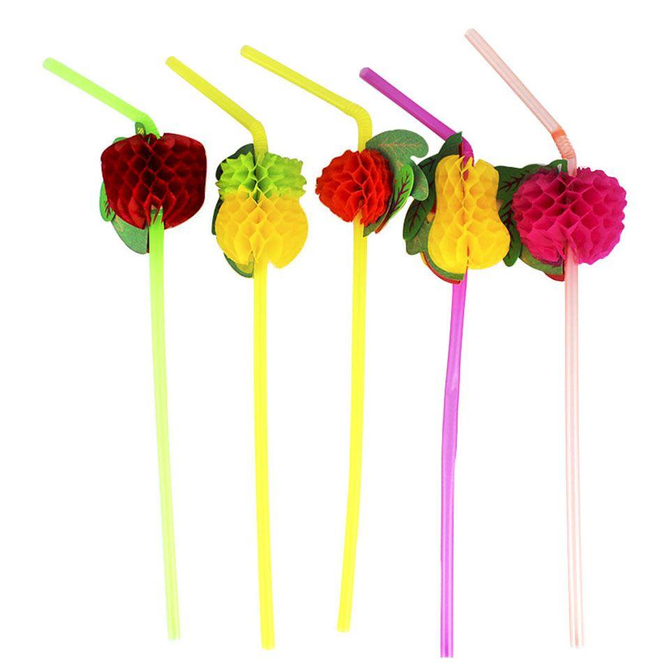 12un Canudos Plástico Decorativo Para Festa Frutas