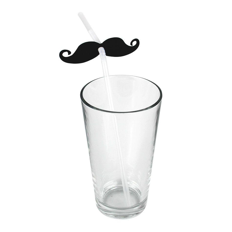 6un Canudos Plástico Decorativo Para Festa Mustache