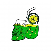 Broche Pin Coquetel Caveira Verde 3.5 cm