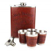 Kit Cantil Whisky Couro Marrom de Bolso para Presente