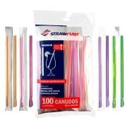Canudo Colher Mexedor Embalado 1x1 Neon 100un
