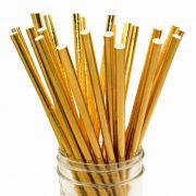 Canudo de Papel Dourado Ecológico pct com 25 un