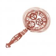Coador Strainer Hawthorne para Coquetéis Relógio Romano Inox Cobreado Vazado