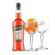 Combo Aperol Spritz e Duas Taças com Logo Aperol