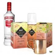 Combo Moscow Mule EasyDrinks + Vodka Smirnoff 998ml + Caneca de Cobre