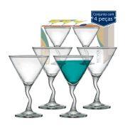 Conjunto de 4 Taças Martini Twister Vidro 225ml
