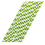 Kit com 240 Canudos de Papel Verde com Listras Brancas