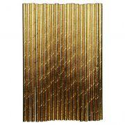 Kit com 250 Canudos de Papel Dourado Atacado Eco