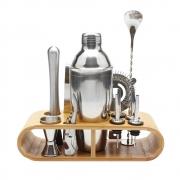 Kit HomeBar Bartender Inox Suporte Madeira 12 Pcs cod3621-7