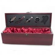 Kit Vinho para Presente Livon com 5 peças Inox e Caixa Madeira 35cm