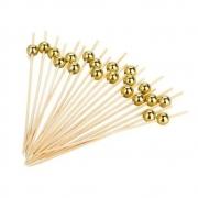Palito Bambu Para Petiscos com Bolinha Dourada 9cm Com 50 unidades