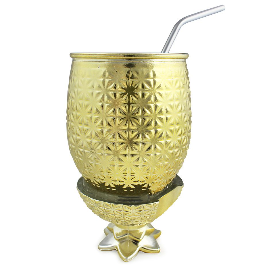 Abacaxi de Vidro Dourado 500ml com Canudo Inox