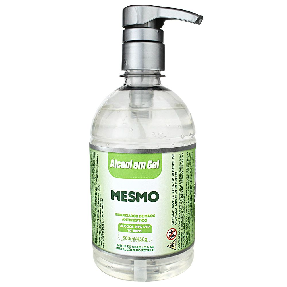 Álcool em Gel Antisséptico 70% 500ml 430g Válvula Pump Marca MESMO