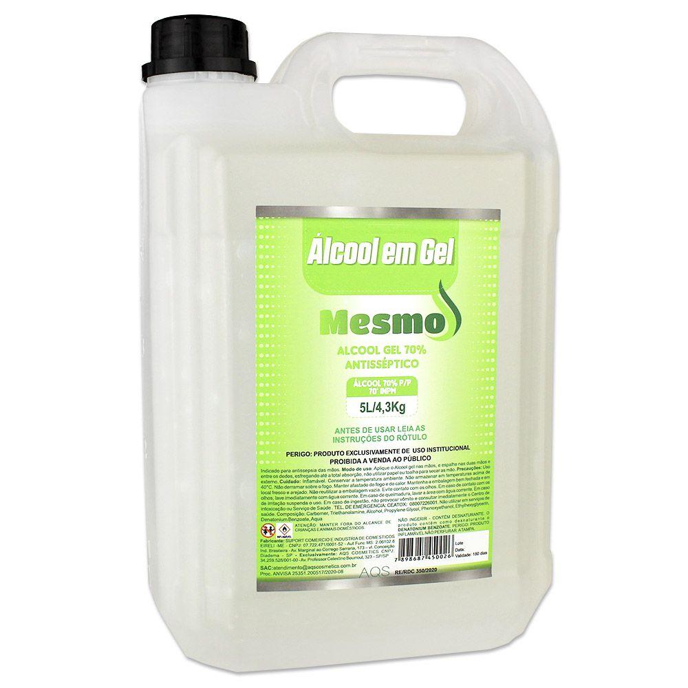 Álcool em Gel Antisséptico 70% 5 Litros 4,3kg Marca MESMO