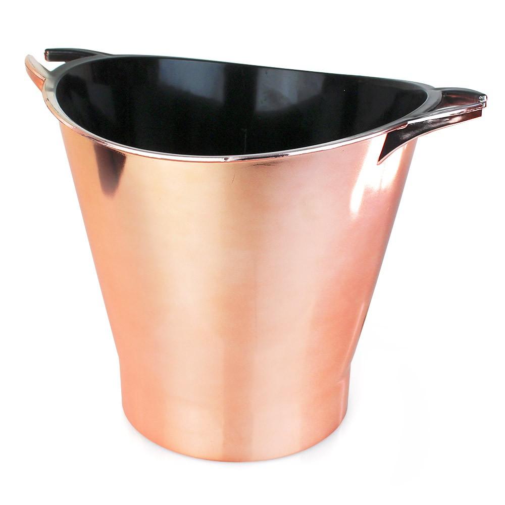 Balde de Gelo Acrílico PS Metalizado Cor Rosê Gold/Cobre 4,5l