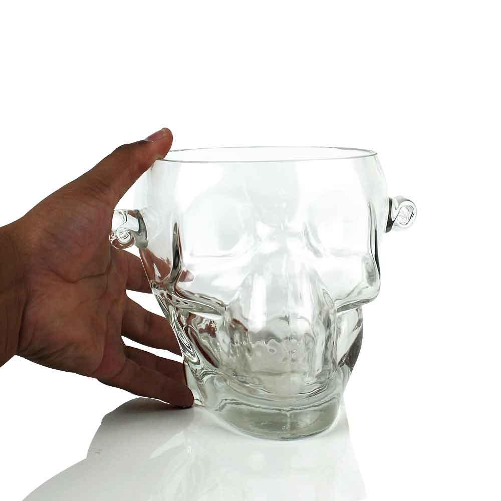 Balde Gelo de Vidro Borossilicato Skull Transparente 1600ml