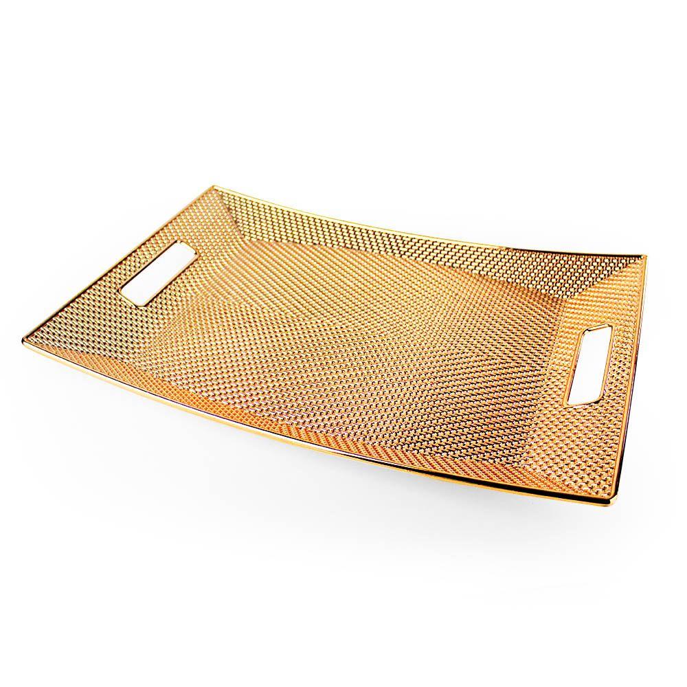 Bandeja de plastico Rose Gold Retangular