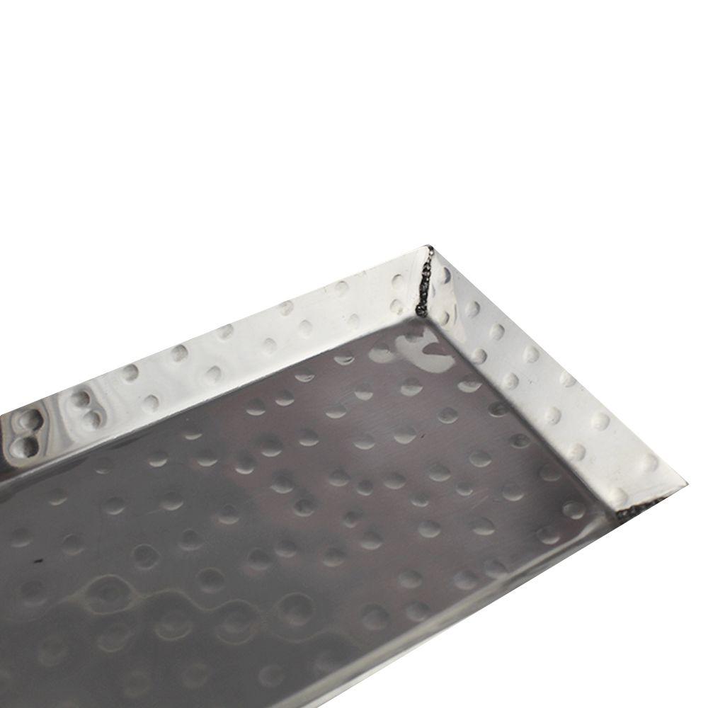 Bandeja Retangular de Inox Martelado Para Servir 36 CM x 9,3 CM