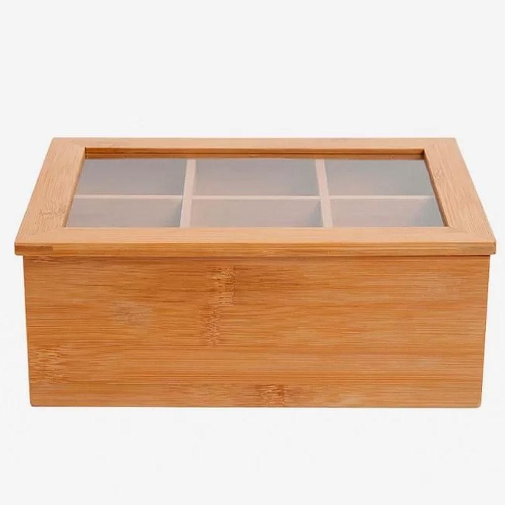 Caixa de Madeira Organizadora de Especiarias com Divisórias e Tampa