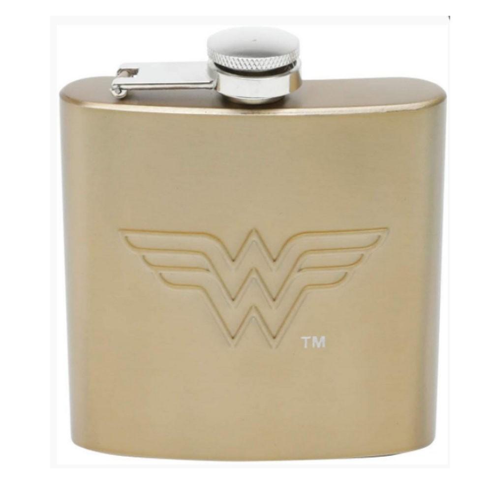Cantil Aço Inox Mulher Maravilha Logo Dourado 170ml