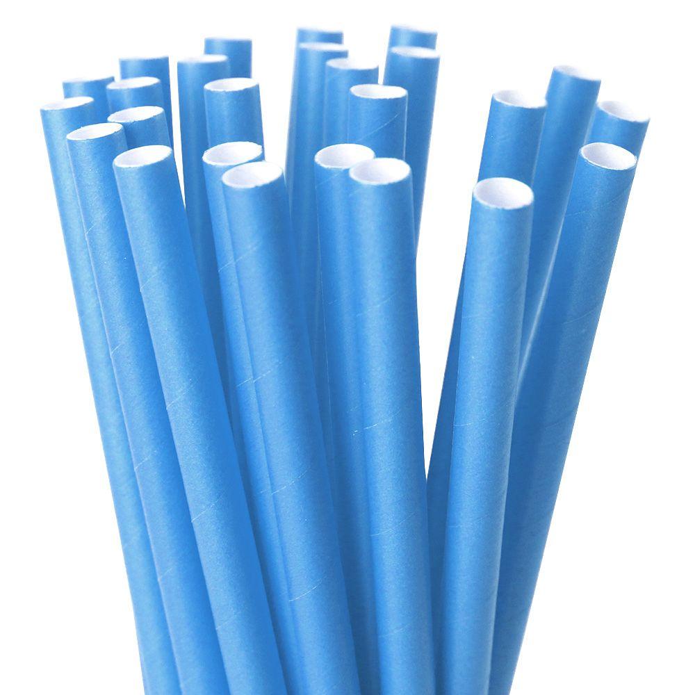 Canudo de Papel 8mm x 197mm Rígido c/ 25 Pçs Azul Claro