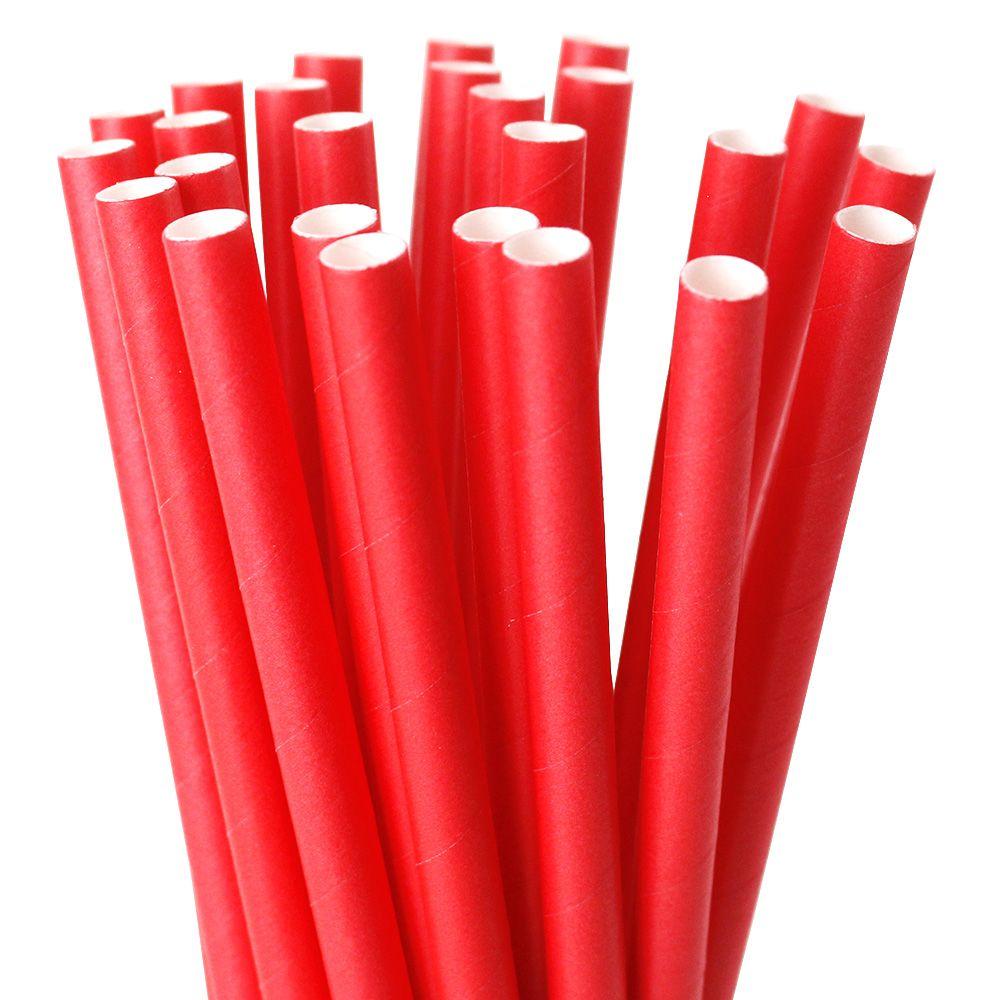 Canudo de Papel 8mm x 197mm Rígido c/ 25 Pçs Vermelho