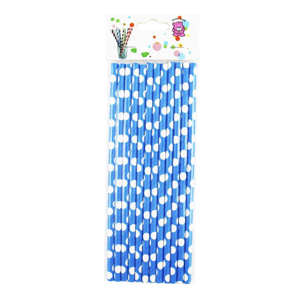 Canudo de Papel Azul com Bolinhas Brancas pct com 12 un
