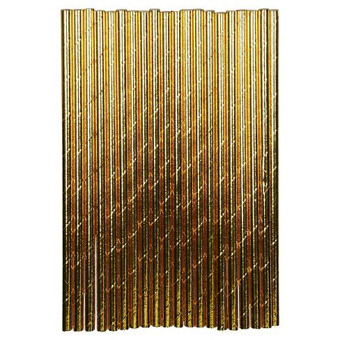 Canudo de Papel Ecológico Dourado  pct com 25 un 13858