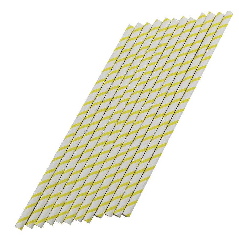 Canudo de Papel Amarelo Listrado pct com 12 un