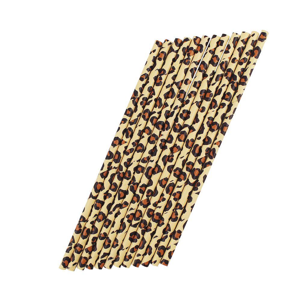 Canudo de Papel Desenho de Onça pct com 12 un