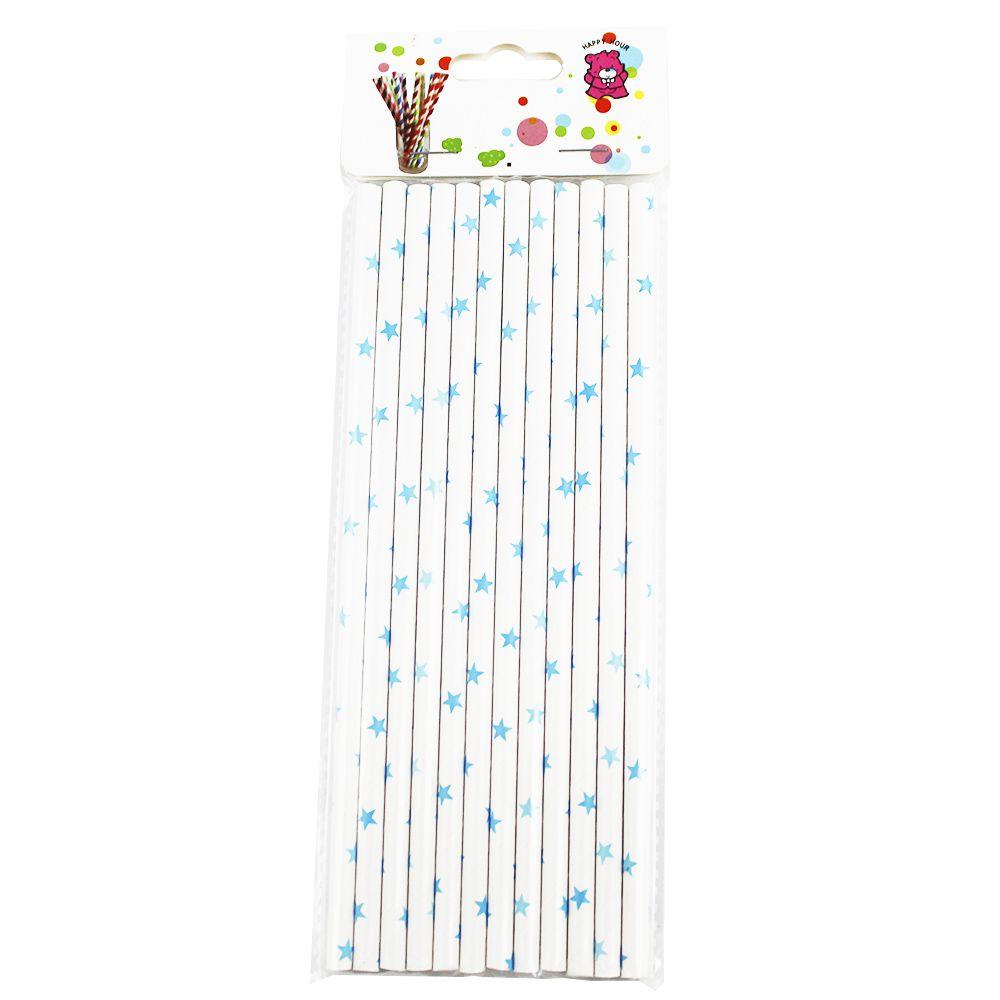 Canudo de Papel Branco Estrelinhas pct com 12 un