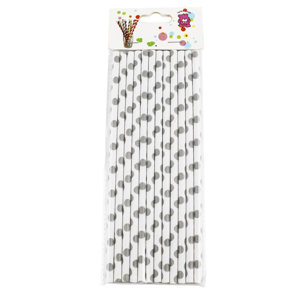 Canudo de Papel Branco com Bolinhas Pratas pct com 12 un