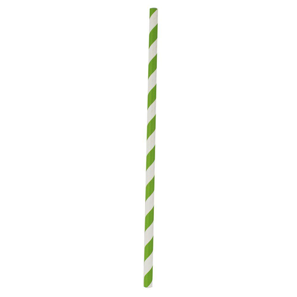 Canudo de Papel Verde Listrado pct com 12 un