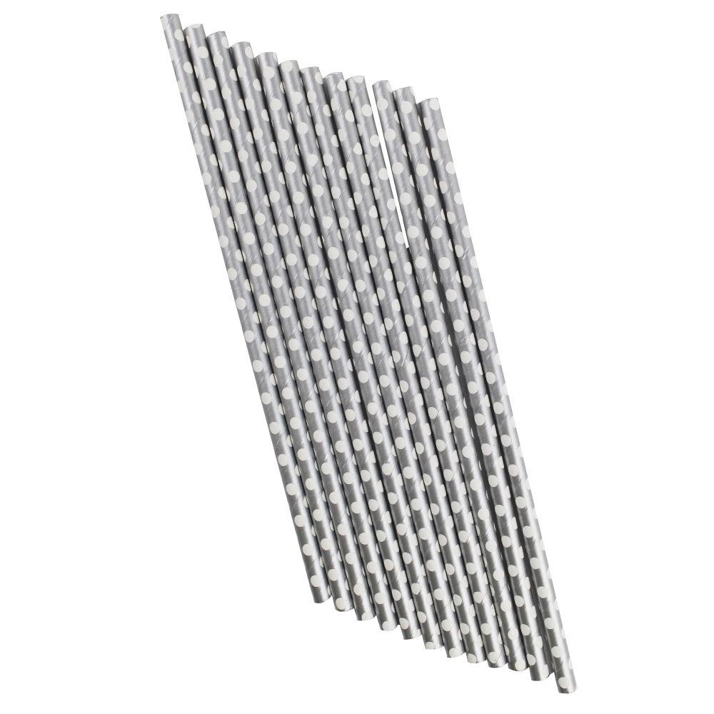 Canudo de Papel Prata com Bolinhas Brancas pct com 12 un