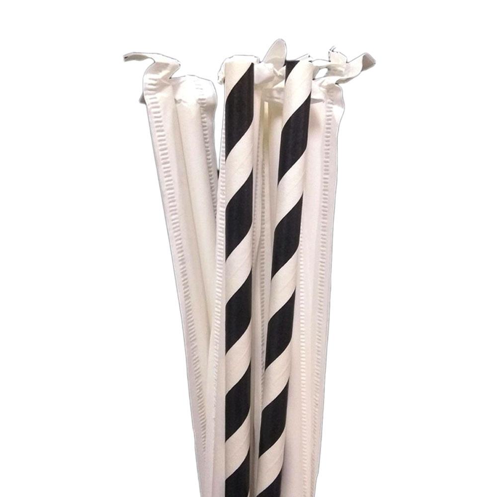 Canudo Embalado Individualmente 20cm x 6 mm Listrado Preto e Branco Com 100 Unidades