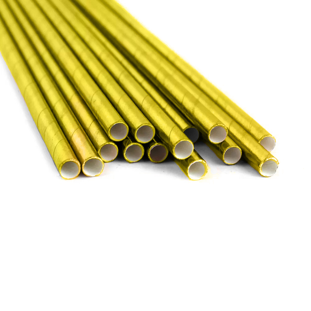 Canudo Papel Liso 20 cm x 6 mm Dourado Com 15 Unidades