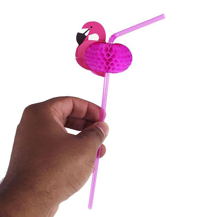 Canudo Plástico Decorativo Para Festa Rosa Flamingo Pct 12 Unidades
