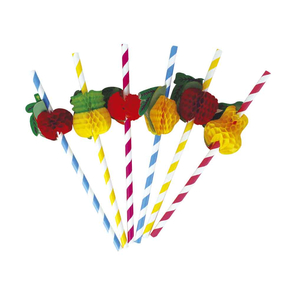 Canudos Tropical de Papel Para Festa Pacote c/ 60 Un - 13863