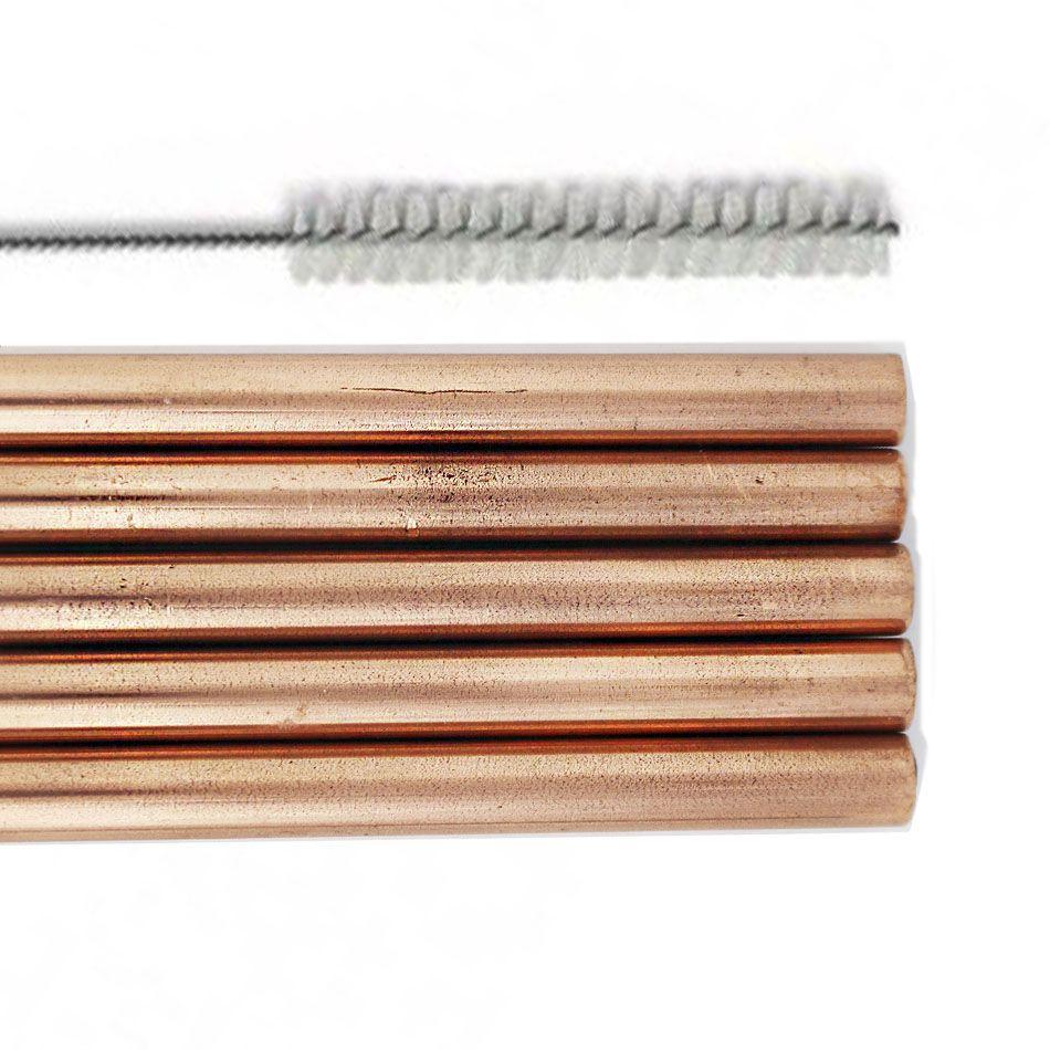 Canudos Cobreados Reutilizáveis 23cm 5 Unidades