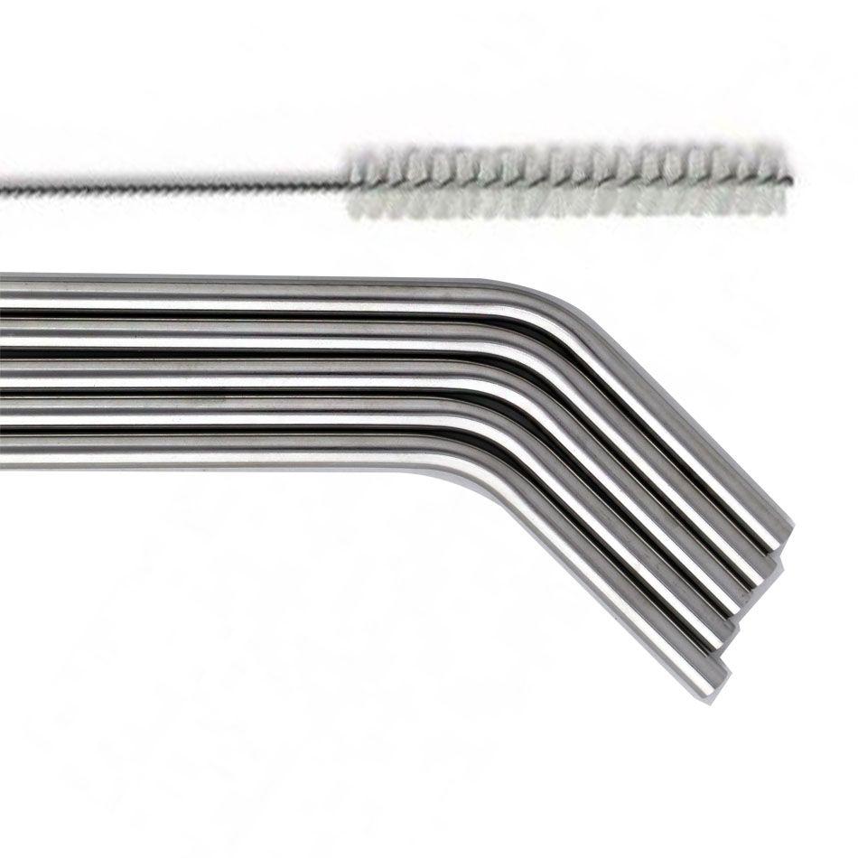 Canudos em Inox Reutilizáveis 21cm 5 Unidades - Novo