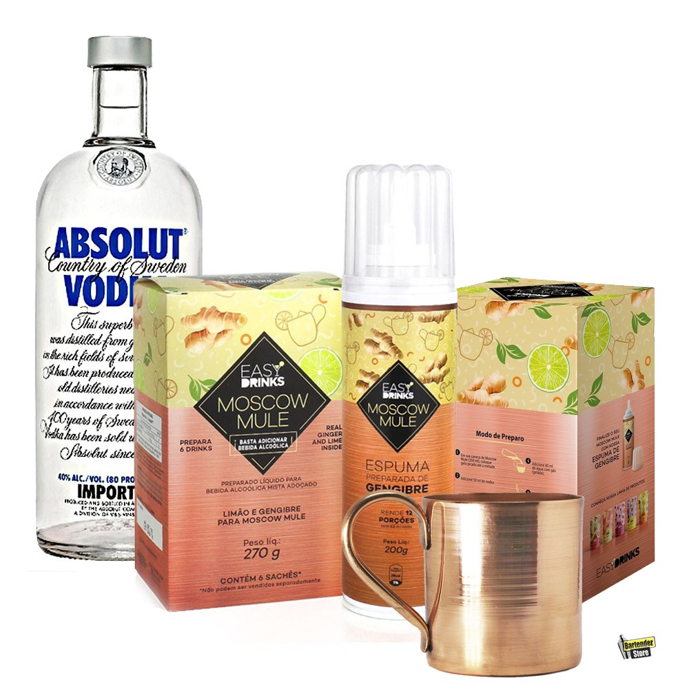 Combo Moscow Mule EasyDrinks + Vodka Absolut 1L + Caneca de Cobre