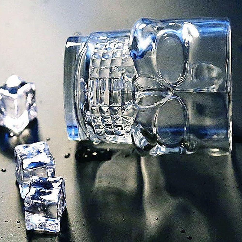 Caneca de Vidro Caveira Azul 500 ML