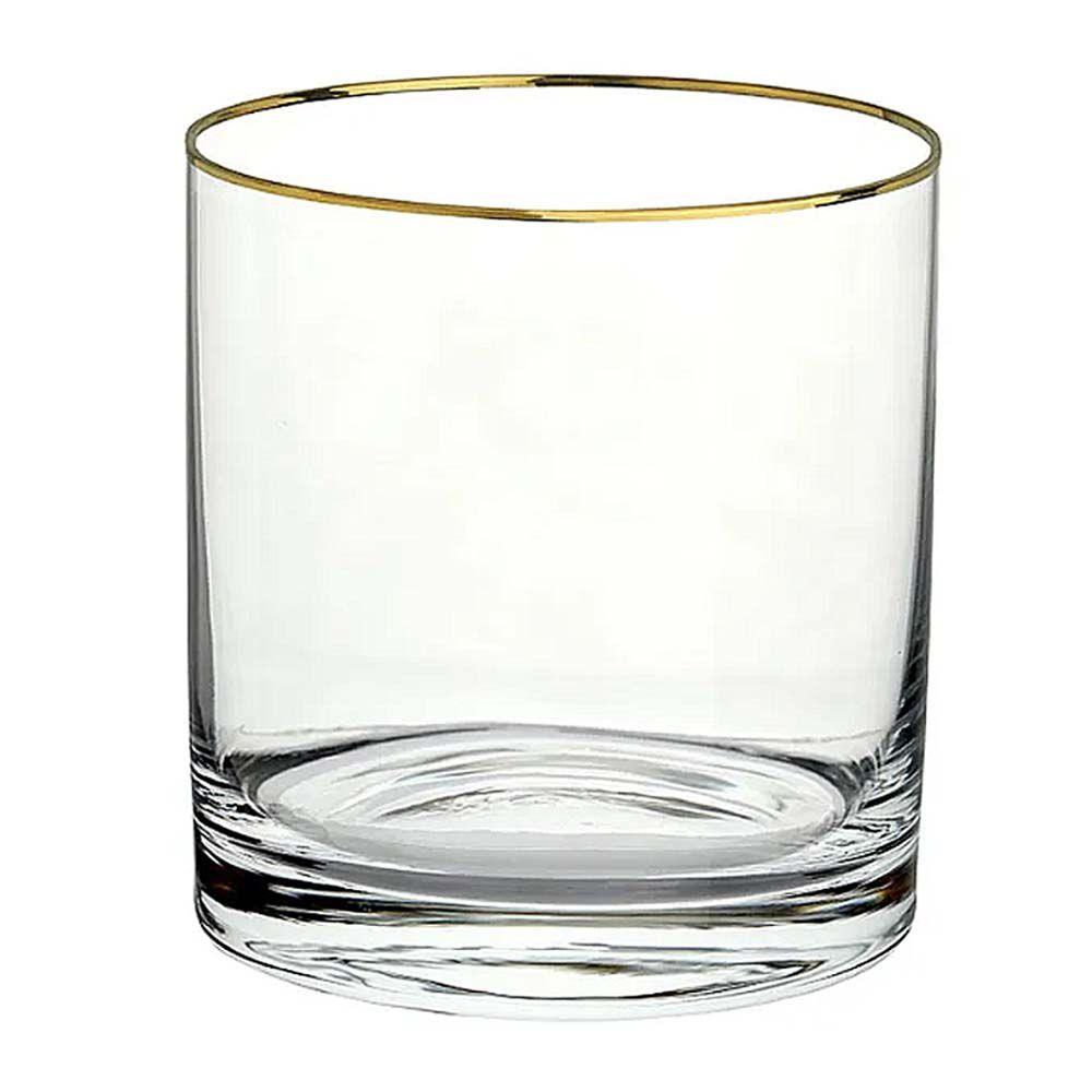 Copo Baixo Barware Gold Rim Em Cristal Ecológico 410ml