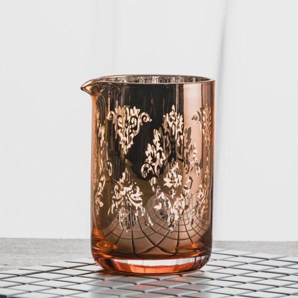 Copo Mixing Glass Deluxe Vidro 600ml Metalizado Cobre Rosê Gold