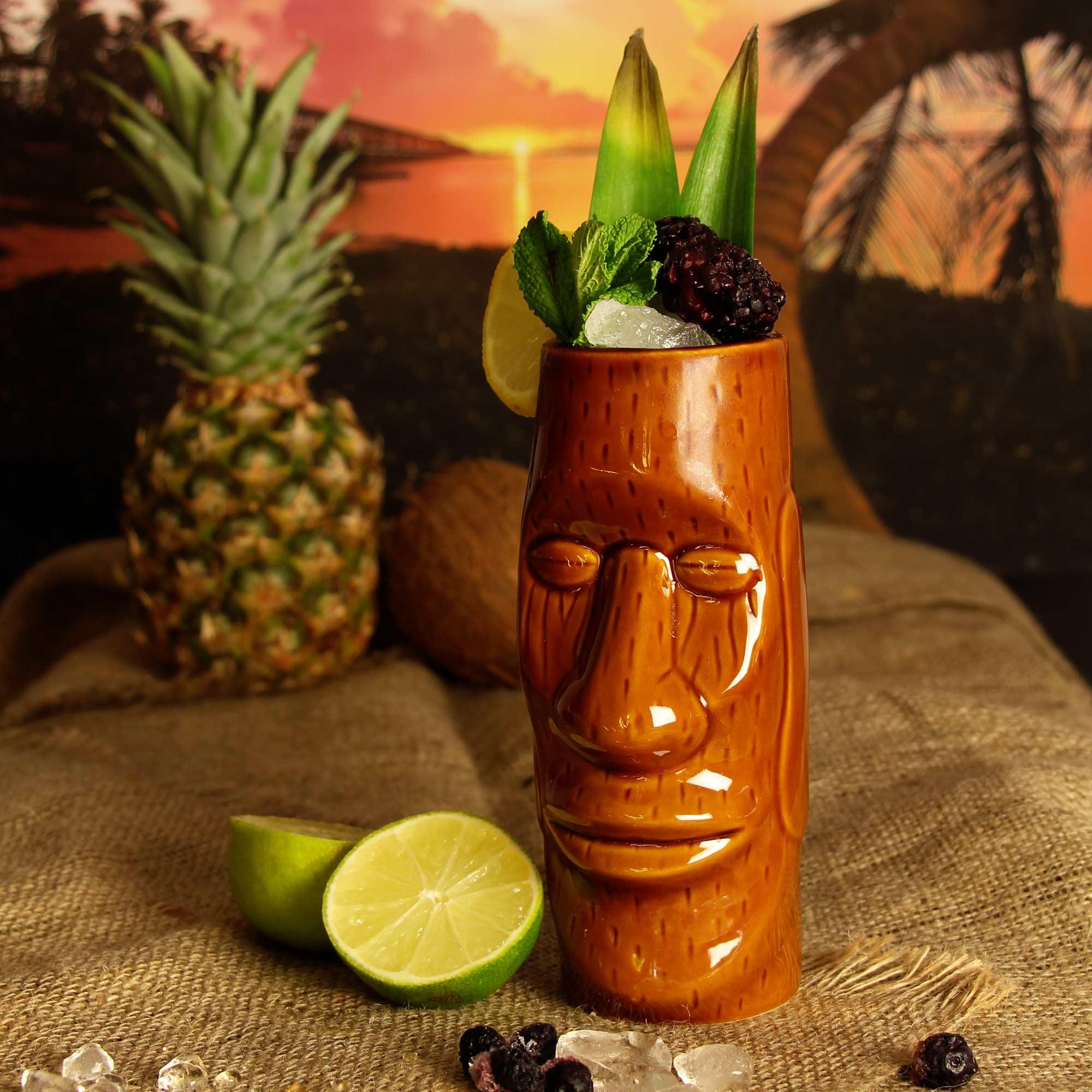 Copo Tiki Cabeça Moai Islander Marrom 450ml Ceramica