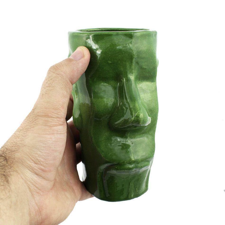 Copo Tiki Mug Artesanal Cerâmica Moai Verde 400ml