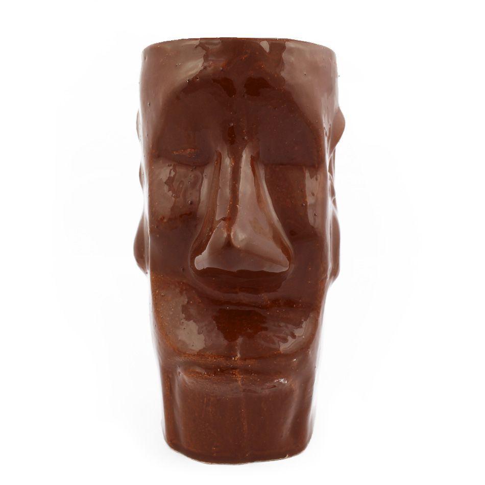 Copo Tiki Mug Artesanal Cerâmica Moai Marrom 400ml
